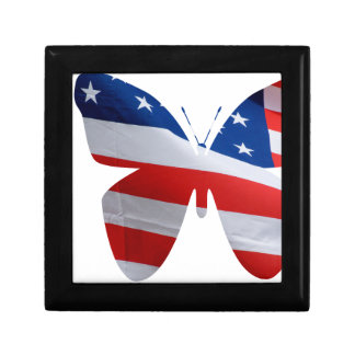 flag butterfly small square gift box