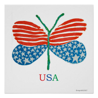 Flag butterfly poster