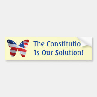 Flag butterfly, The Constitution is our solution! Bumper Sticker