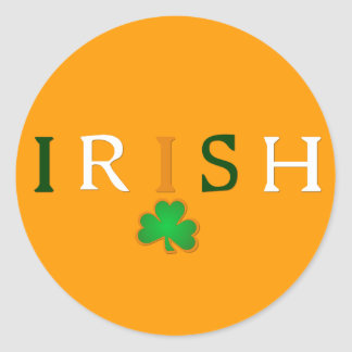 Flag Colored Irish with Shamrock Design Classic Round Sticker