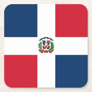 Flag: Dominican Republic Square Paper Coaster