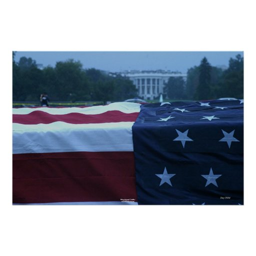 """Flag-draped """"Coffin"""" and White House Poster"""