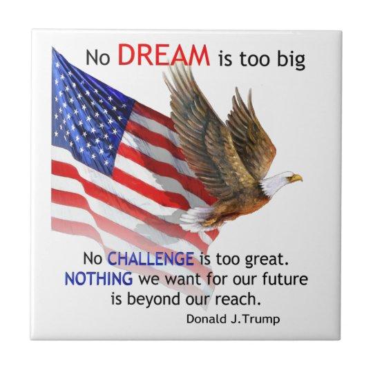 Flag & Eagle Donald J Trump Quote Small Square Tile