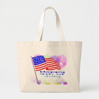 Flag Fireworks 4th of July Canvas Bag