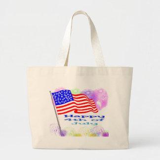 Flag Fireworks 4th of July Canvas Bag