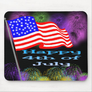 Flag Fireworks 4th of July Mouse Mat