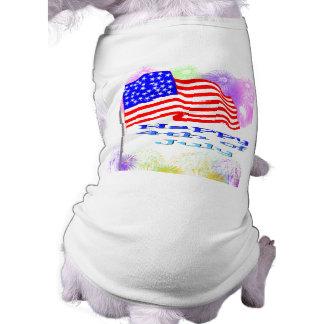 Flag Fireworks 4th of July Pet Tshirt