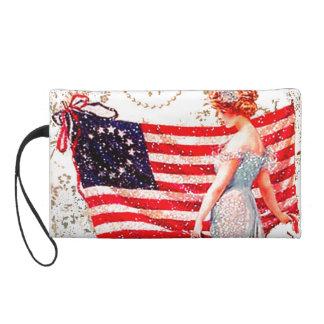 Flag Gibson Girl 4th of July Vintage Art Purse Wristlet