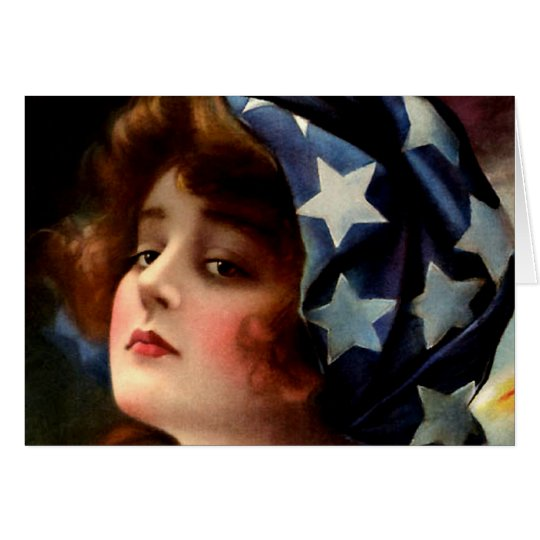 Flag Girl 4th of July Vintage Patriotic Art Card