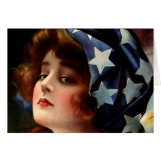Flag Girl 4th of July Vintage Patriotic Art Greeting Card