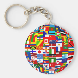 Flag Globe Basic Round Button Key Ring