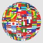 Flag Globe Round Sticker
