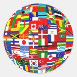 Flag Globe Round Sticker