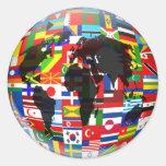 Flag Globe Round Stickers