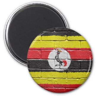 flag_grunge_wall_Uganda 6 Cm Round Magnet