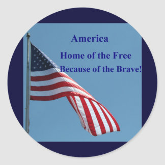 Flag, Home of the Free! Classic Round Sticker