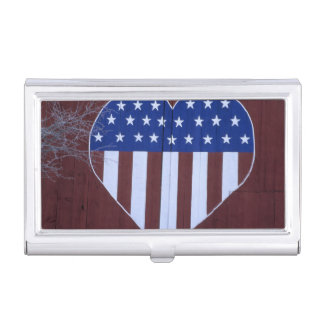 Flag in heart shape painted on barn after 9-11. business card cases