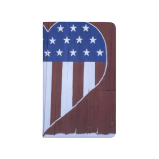 Flag in heart shape painted on barn after 9-11. journal