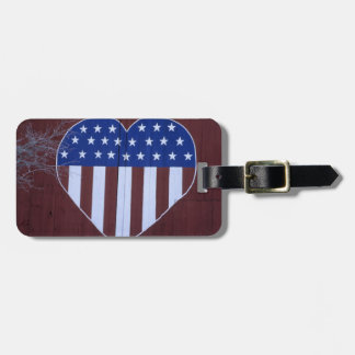 Flag in heart shape painted on barn after 9-11. luggage tag