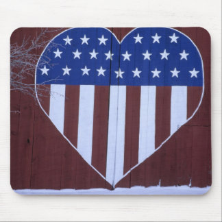 Flag in heart shape painted on barn after 9-11. mouse mat
