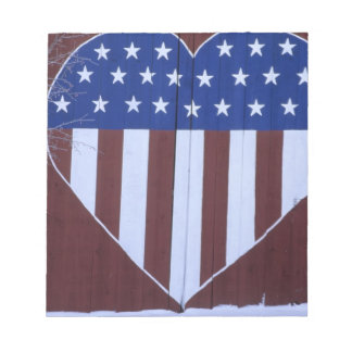 Flag in heart shape painted on barn after 9-11. notepad