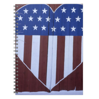 Flag in heart shape painted on barn after 9-11. spiral notebook