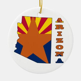 Flag in Map Arizona Christmas Ornament