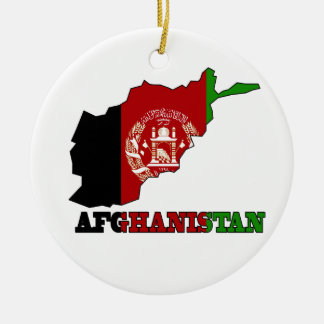 Flag in Map of Afghanistan Christmas Ornament