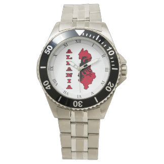 Flag in Map of Albania Wrist Watch