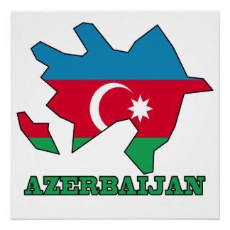 Flag In Map of Azerbaijan Perfect Poster