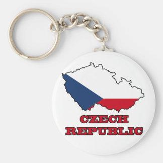 Flag in Map of Czech Republic Key Ring