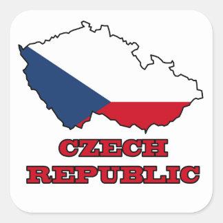 Flag in Map of Czech Republic Square Sticker