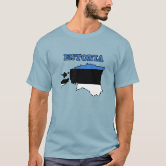 Flag in Map of Estonia T-Shirt