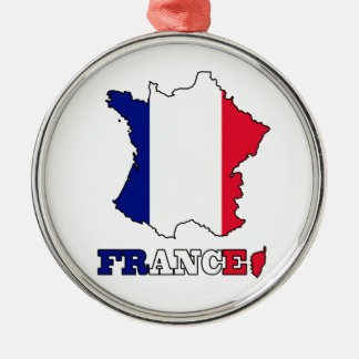 Flag in Map of France Silver-Colored Round Decoration