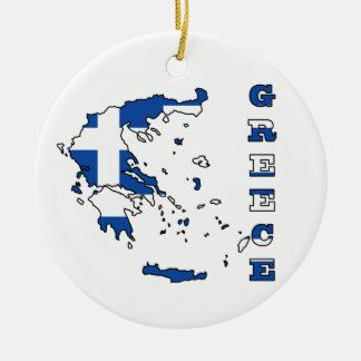 Flag in Map of Greece Round Ceramic Decoration