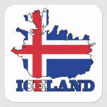Flag in Map of Iceland Square Stickers