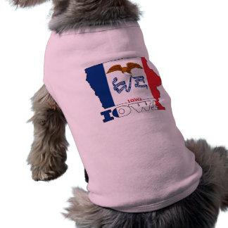 Flag in Map of Iowa Sleeveless Dog Shirt
