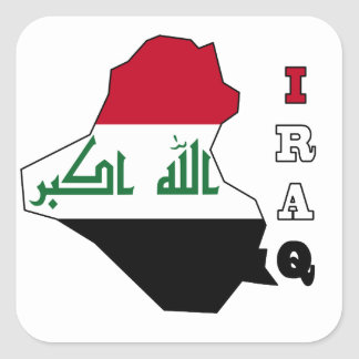 Flag in Map of Iraq Square Sticker