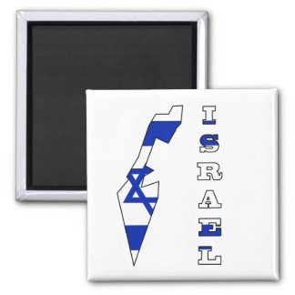 Flag in Map of Israel Square Magnet