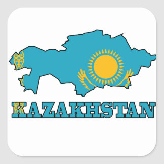 Flag in Map of Kazakhstan Square Sticker