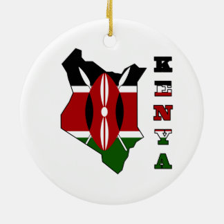 Flag in Map of Kenya Round Ceramic Decoration