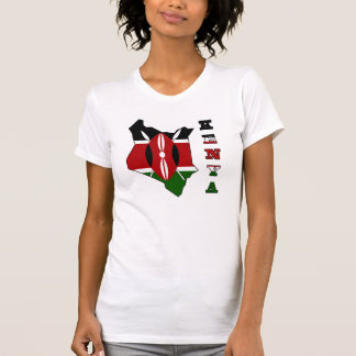 Flag in Map of Kenya T-Shirt