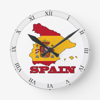 Flag in Map of Spain Round Clock