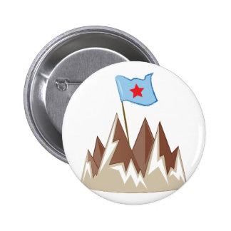 Flag In Mountain 6 Cm Round Badge