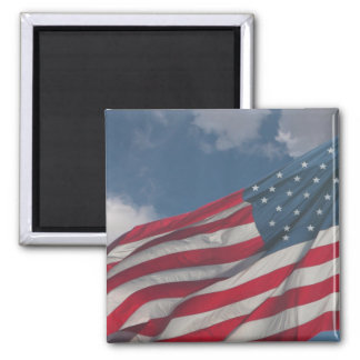 Flag in the clouds square magnet