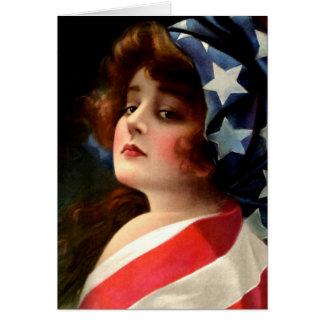 Flag Lady 4th of July Vintage Patriotic Art Greeting Card