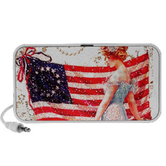 Flag Lady Gibson Girl 4th of July Patriotic USA Mini Speakers