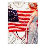 Flag Lady July 4th Vintage Postcard Art Greeting Cards
