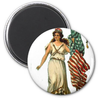 Flag Lady July 4th Vintage Postcard Art 6 Cm Round Magnet