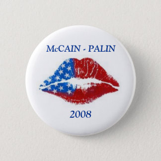 Flag Lipstick Kiss, McCAIN - PALIN, 2008 6 Cm Round Badge